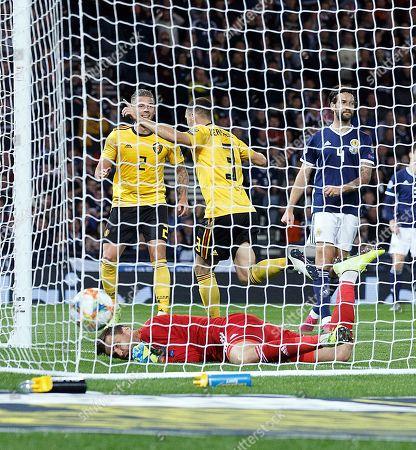 Thomas Vermaelen of Belgium (C, top) celebrates scoring during the UEFA Euro 2020 Group I qualifying soccer match between Scotland and Belgium at Hampden Park in Glasgow, Britain, 09 September 2019.