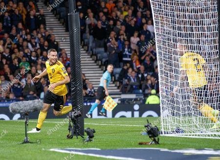 Thomas Vermaelen of Belgium (L) celebrates scoring during the UEFA Euro 2020 Group I qualifying soccer match between Scotland and Belgium at Hampden Park in Glasgow, Britain, 09 September 2019.