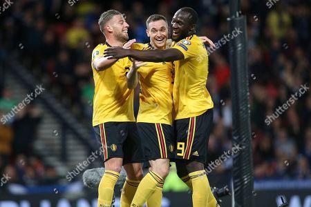 Belgium defender Thomas Vermaelen (3) (Vissel Kobe)celebrates his goal 0-2  during the UEFA European 2020 Qualifier match between Scotland and Belgium at Hampden Park, Glasgow