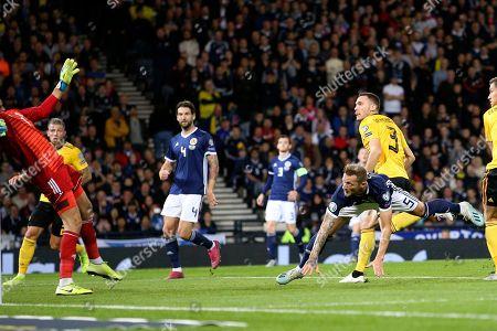 Belgium defender Thomas Vermaelen (3) (Vissel Kobe) scores a goal 0-2 during the UEFA European 2020 Qualifier match between Scotland and Belgium at Hampden Park, Glasgow