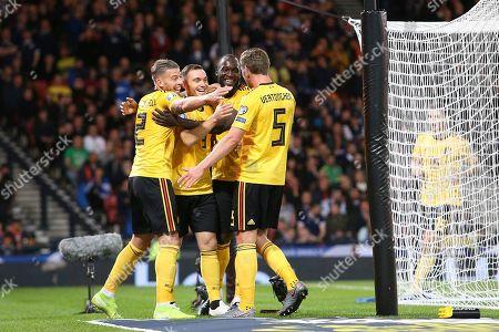 Belgium defender Thomas Vermaelen (3) (Vissel Kobe) scores a goal 0-2  and celebrates during the UEFA European 2020 Qualifier match between Scotland and Belgium at Hampden Park, Glasgow