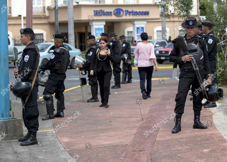 Riot agents stand guard, in Managua, Nicaragua, 09 September 2019. Hundreds of Nicaraguan police officers were deployed in the capital Managua, before the announcement of a student protest against the Government of Daniel Ortega, for a budget reduction to the Central American University (UCA). Protests demanding the disbursement of about two million dollars that the Government has taken from the university, of almost eight million dollars from the General Budget of the Republic that correspond to it by law.