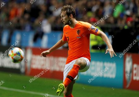 Stock Picture of Netherland's Daley Blind in action against Estonia's Mihkel Ainsalu during the UEFA EURO 2020 qualifiers group C soccer match between Estonia and the Netherlands in Tallinn, Estonia, 09 September 2019.