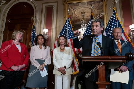 Nancy Pelosi, Chuck Schumer, Nan Whaley, Veronica Escobar, Mike Thompson, Sherrod Brown. From left, Dayton, Ohio Mayor Nan Whaley whose city suffered a mass shooting Aug. 4, 2019, Rep. Veronica Escobar, D-Texas, whose district contains El Paso, Texas, where a gunman killed 22 people at a Walmart, Speaker of the House Nancy Pelosi, D-Calif., Sen. Sherrod Brown, D-Ohio, and Senate Minority Leader Chuck Schumer, D-N.Y., call for a Senate vote on the House-passed Bipartisan Background Checks Act as Congress returns for the fall session with pressure mounting on Senate Majority Leader Mitch McConnell to address gun violence, at the Capitol in Washington
