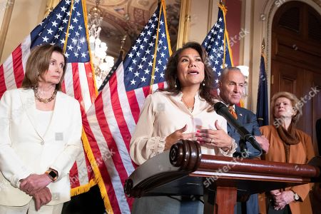 US Democratic Representative of El Paso, Texas, Veronica Escobar (C) delivers remarks beside Speaker of the House Democrat Nancy Pelosi (L), Senate Minority Leader Democrat Chuck Schumer (2-R) and Democratic Senator from Michigan Debbie Stabenow (R), during a news conference on the Bipartisan Background Checks Act, H.R. 8, on Capitol Hill in Washington, DC, USA, 09 September 2019. Democrats held a news conference to urge the Senate to vote on legislation already passed in the House, H.R. 8, that would expand gun background checks. There has been a renewed call for gun control reform legislation in the United States following the 03 August 2019 mass shooting that killed 22 people in El Paso, Texas; and the mass shooting the following day in Dayon, Ohio, that resulted in ten deaths.