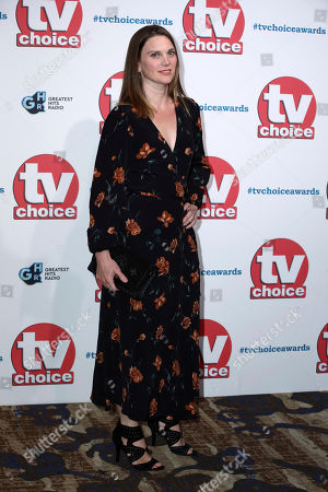 Liz White poses for photographers on arrival at the TV Choice Awards in central London on
