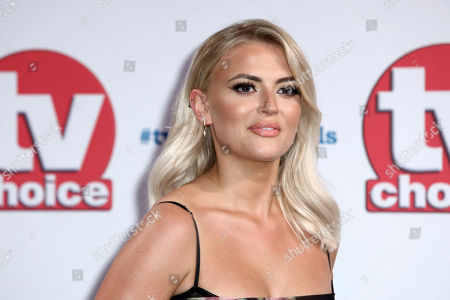 Lucy Fallon poses for photographers on arrival at the TV Choice Awards in central London on