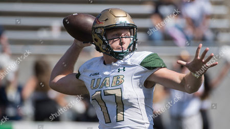 University of Alabama at Birmingham quarterback Tyler Johnston passes against the University of Akron during an NCAA football game on in Akron, Ohio