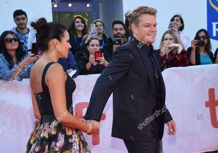 "Luciana Barroso, Matt Damon. Luciana Barroso, left, and Matt Damon attend a premiere for ""Ford v Ferrari"" on day five of the Toronto International Film Festival at Roy Thomson Hall, in Toronto"