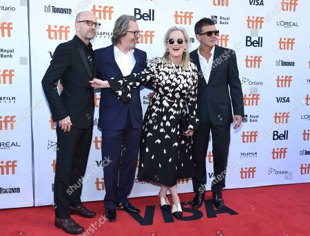 "Steven Soderbergh, Gary Oldman, Meryl Streep, Antonio Banderas. Director Steven Soderbergh, from left, Gary Oldman, Meryl Streep and Antonio Banderas attend a premiere for ""The Laundromat"" on day five of the Toronto International Film Festival at Princess of Wales Theatre, in Toronto"