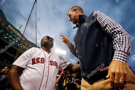 David Ortiz, Sam Kennedy. Former Boston Red Sox's David Ortiz, left, talks to team president Sam Kennedy after throwing out a ceremonial first pitch before a baseball game against the New York Yankees in Boston