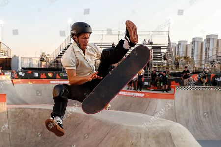 Shaun White of US in action during a training session at Candido Portinari Park in Sao Paulo, Brazil, 09 September 2019. Sao Paulo will hold the World Skate Championships in the categories park and street from 09 to 25 September 2019.