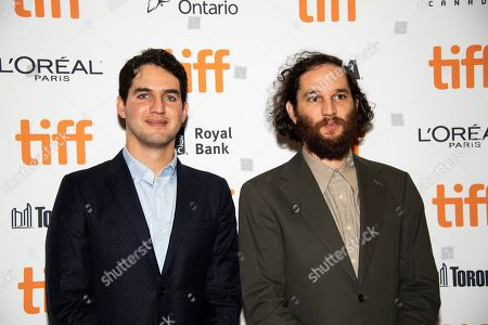 """Benny Safdie, Josh Safdie. Directors Benny Safdie, left, and Josh Safdie attend a premiere for """"Uncut Gems"""" on day five of the Toronto International Film Festival at the Princess of Wales Theatre, in Toronto"""