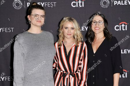 """Leslye Headland, Emily Osment, Jeni Mulein. Leslye Headland, from left, Emily Osment and Jeni Mulein attend Fox's """"Almost Family"""" screening and panel at the 2019 PaleyFest Fall TV Previews at The Paley Center for Media, in Beverly Hills, Calif"""