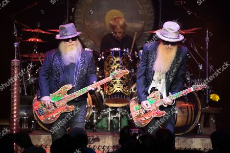 Stock Image of ZZ Top - Dusty Hill, Frank Beard, Billy Gibbons,