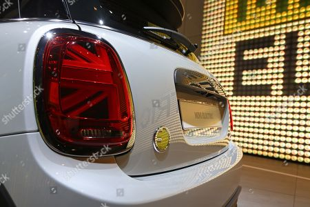 A detail of a Mini Cooper SE Electric car on display at the International Motor Show IAA in Frankfurt Main, Germany, 10 September 2019. The 2019 International Motor Show Germany IAA 2019, which this year promotes itself under the motto 'Driving tomorrow', takes place in Frankfurt am Main from 12 to 22 September 2019. The IAA 2019 will also feature numerous world premieres, and has a special focus on electric mobility and digitization.