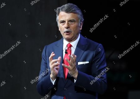 The chief executive officer of Jaguar Land Rover, Ralf Speth, speaks during the presentation of the new Jaguar Land Rover Defender model in the International Motor Show (IAA) in Frankfurt, Germany, 10 September 2019. The 2019 International Motor Show Germany  IAA 2019, which this year promotes itself under the motto 'Driving tomorrow', takes place in Frankfurt am Main from 12 to 22 September 2019. The IAA 2019 will also feature numerous world premieres, and has a special focus on electric mobility and digitization.