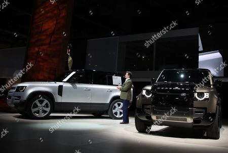 English Design Director for Land Rover, Gerry McGovern, speaks in the new Jaguar Land Rover Defender 90 presentation in the International Motor Show (IAA) in Frankfurt, Germany, 10 September 2019. The 2019 International Motor Show Germany  IAA 2019, which this year promotes itself under the motto 'Driving tomorrow', takes place in Frankfurt am Main from 12 to 22 September 2019. The IAA 2019 will also feature numerous world premieres, and has a special focus on electric mobility and digitization.