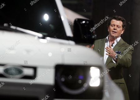 Stock Picture of English Design Director for Land Rover, Gerry McGovern, speaks in the new Jaguar Land Rover Defender 90 presentation in the International Motor Show (IAA) in Frankfurt, Germany, 10 September 2019. The 2019 International Motor Show Germany  IAA 2019, which this year promotes itself under the motto 'Driving tomorrow', takes place in Frankfurt am Main from 12 to 22 September 2019. The IAA 2019 will also feature numerous world premieres, and has a special focus on electric mobility and digitization.