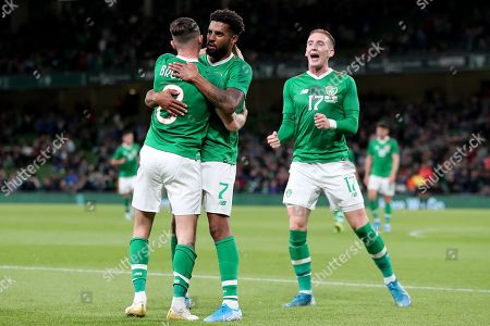 Stock Picture of Alan Browne of Republic of Ireland celebrates scoring his sides first goal with Cyrus Christie and Ronan Curtis to make the score 1-0