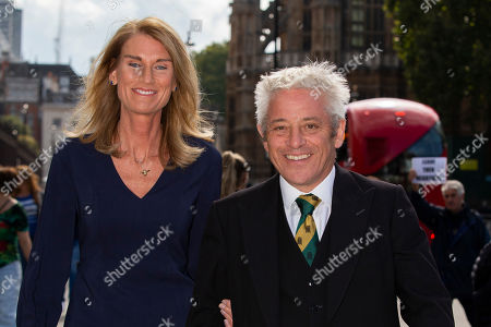 Speaker of the House of Commons John Bercow (r) and his wife Sally Bercow (l) return to The Houses of Parliament after attending a Service of Thanksgiving for Lord Ashdown at Westminster Abbey.