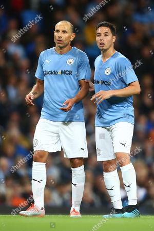 Martin Petrov and Samir Nasri of Manchester City Legends