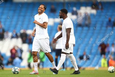 Joleon Lescott of Manchester City Legends warms up