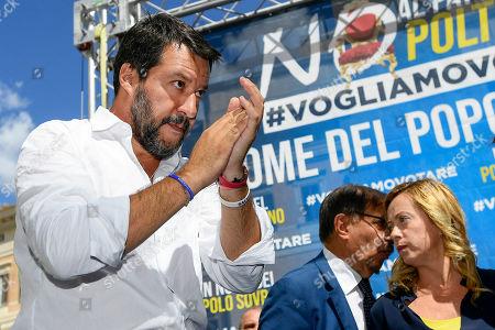 Matteo Salvini, Ignazio La Russa and Giorgia Meloni during the demonstration in Piazza Montecitorio on the day of the vote of confidence in the new Conte government