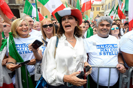 Daniela Santanche 'during the demonstration in Piazza Montecitorio on the day of the vote of confidence in the new Conte government