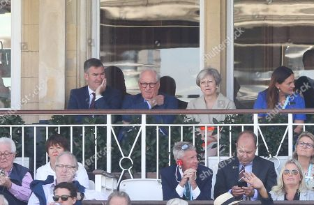Theresa May ( ex Prime Minister - MP) watches the cricket after awarding Geoffrey Boycott a controversial knighthood in her retiring honours' list a few days ago.