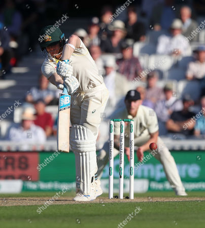Steve Smith of Australia is out LBW to England's Chris Woakes for 80 runs