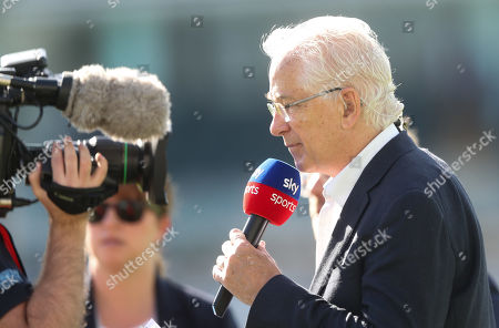 Stock Image of David Gower in his final Ashes Test Match as a Sky TV Presenter