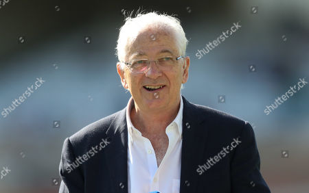 Stock Photo of David Gower in his final Ashes Test Match as a Sky TV Presenter - smiling, smiles