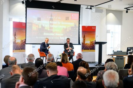 Tony Blair in conversation with Alexander Downer at the launch of the International School of Government at King's College London a day after parliament is prorogued for 5 weeks.
