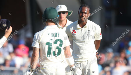 No love lost - England's Jofra Archer (with England's Stuart Broad) has a prolonged stare off with Matthew Wade of Australia