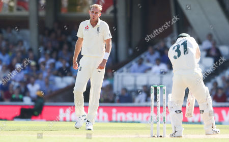 England's Stuart Broad goes close to getting David Warner of Australia in his first over