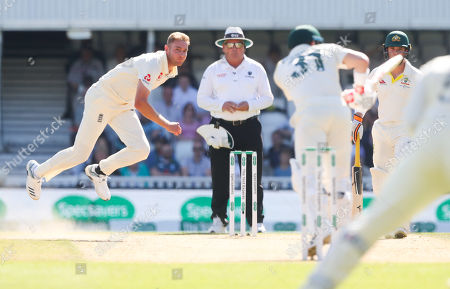 Stock Image of England's Stuart Broad bowls to David Warner of Australia