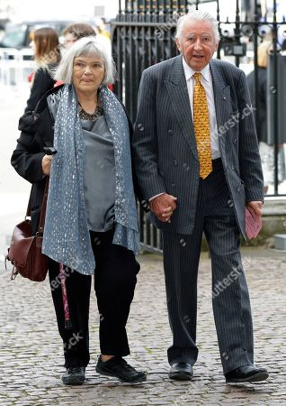 Stock Photo of David Steel, British Liberal Democrat politician, and his wife Judith Mary MacGregor arrive to attend a memorial service for former Leader of the Liberal Democrats Lord Paddy Ashdown at Westminster Abbey in London
