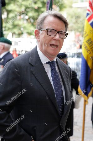 Stock Picture of Peter Mandelson, British Labour politician, arrives to attend a memorial service for former Leader of the Liberal Democrats Lord Paddy Ashdown at Westminster Abbey in London