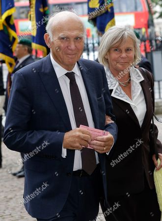 Former leader of the Liberal Democrats Vince Cable and his wife Rachel arrive to attend a memorial service for former Leader of the Liberal Democrats Lord Paddy Ashdown at Westminster Abbey in London