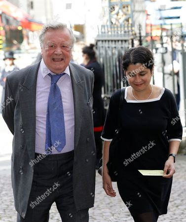 British politicians Ken Clarke and Shami Chakrabarti arrive to attend a memorial service for former Leader of the Liberal Democrats Lord Paddy Ashdown at Westminster Abbey in London