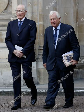 British politicians Chris Patten, right, and Menzies Campbell, left, leave after attending a memorial service for former Leader of the Liberal Democrats Lord Paddy Ashdown at Westminster Abbey in London