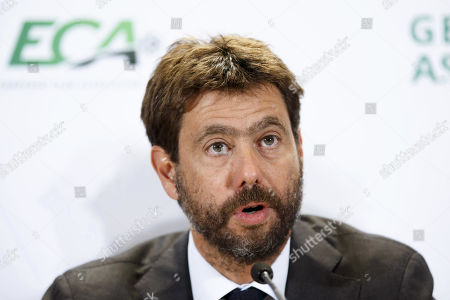 Italy's Andrea Agnelli, chairman of the European Club Association (ECA), speaks during a press conference after the general assembly of the ECA in Geneva, Switzerland, 10 September 2019.