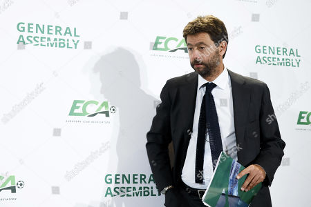 Italy's Andrea Agnelli, chairman of the European Club Association (ECA), arrives for a press conference after the general assembly of the ECA in Geneva, Switzerland, 10 September 2019.