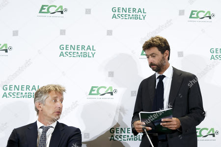 Italy's Andrea Agnelli (R), chairman of the European Club Association (ECA), and Dutch Edwin van der Sar (L) attend a press conference after the general assembly of the ECA in Geneva, Switzerland, 10 September 2019.