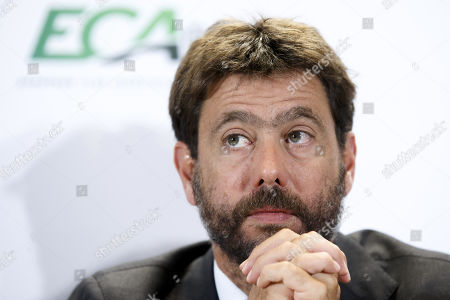 Italy's Andrea Agnelli, chairman of the European Club Association (ECA), attends a press conference after the general assembly of the ECA in Geneva, Switzerland, 10 September 2019.