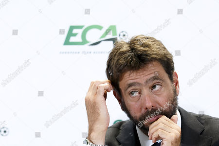 Stock Picture of Italy's Andrea Agnelli, chairman of the European Club Association (ECA), attends a press conference after the general assembly of the ECA in Geneva, Switzerland, 10 September 2019.
