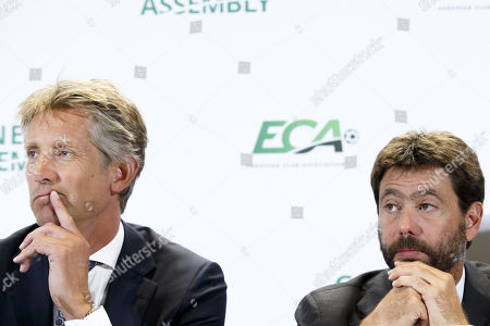 Italy's Andrea Agnelli (R), chairman of the European Club Association (ECA), and Dutch Edwin van der Sar (L), vice chairman of the ECA, attend a press conference after the general assembly of the ECA in Geneva, Switzerland, 10 September 2019.