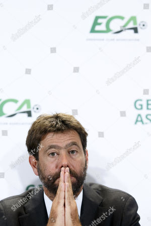 Stock Image of Italy's Andrea Agnelli, chairman of the European Club Association (ECA), attends a press conference after the general assembly of the ECA in Geneva, Switzerland, 10 September 2019.