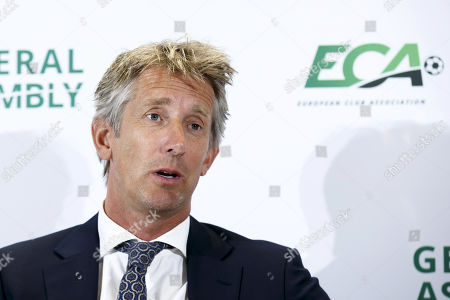 Dutch Edwin van der Sar, vice chairman of the European Club Association (ECA), speaks during a press conference after the general assembly of the ECA in Geneva, Switzerland, 10 September 2019.